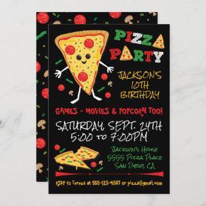 Happy Face Pizza Birthday Party Invitation