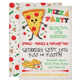 Happy Face Pizza Birthday Party Invitation