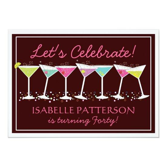 Happy Martinis Milestone Birthday Party Invitations