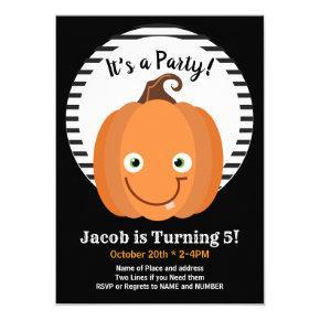 Happy Pumpkin Halloween Birthday Party Invitations