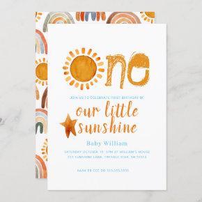 Happy Yellow Sunshine Watercolor Birthday Invitation