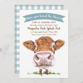 Have You Heard The Moos Cow Birthday Invitation