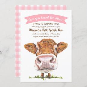 Have You Heard The Moos Cow Pink Invitation