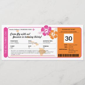 Hawaii Birthday Boarding Pass Invitation