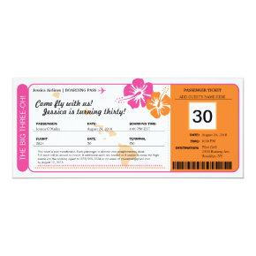 Hawaii Birthday Boarding Pass Invitations
