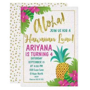 Hawaiian Luau Birthday Invitations