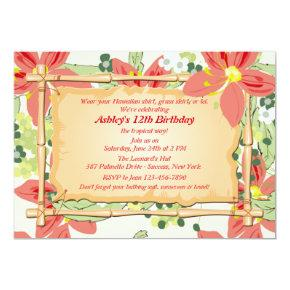 Hawaiian Luau Birthday Party Invitations