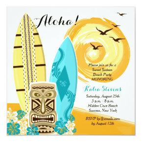Hawaiian Luau Surfboards Invitations