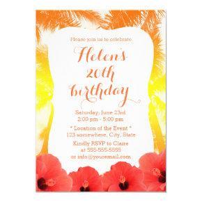 Hawaiian Red Hibiscus Golden Beach Birthday Party Card