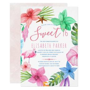 Hawaiian tropical pink floral wreath sweet sixteen Invitations