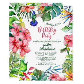 Hawaiian Tropical Watercolor Flowers Birthday Invitation
