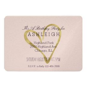 Gold Heart Birthday Invitations Candied Clouds