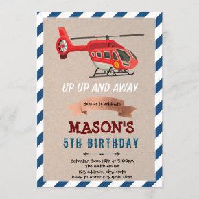 Helicopter airplane birthday theme Invitation