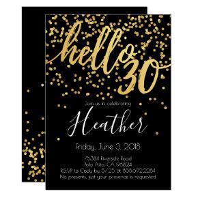 Hello Thirty 30th Birthday Gold and Black Confetti Invitation