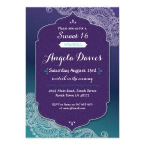 Henna Style Jewel Sweet 16 Birthday Party Invite