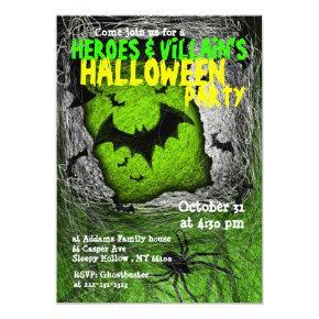Hero Villian Halloween Party Invitation Bat