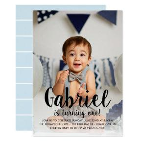 He's Turning One Blue Boy's First Birthday Photo Invitation