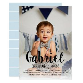 He's Turning One | Blue First Birthday Invitations
