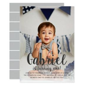 He's Turning One Gray Boy's First Birthday Photo Invitation