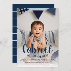 He's Turning One Navy Boy's First Birthday Photo Invitation