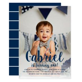 He's Turning One | Navy First Birthday Invitations
