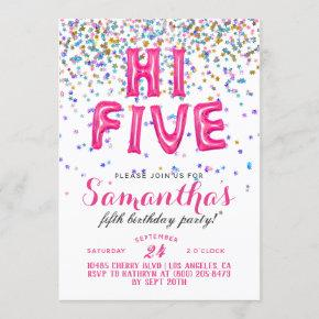 High Five 5th Birthday Confetti Invitation