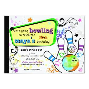 Hip and Colorful Bowling Invitation