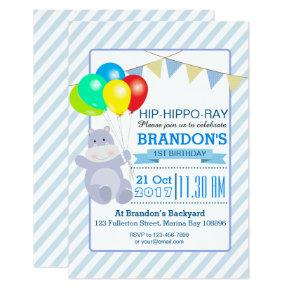 Hippo Balloons Adventure 1st Birthday Bash Invitations