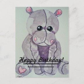 Hippo Happy Birthday Holiday Post