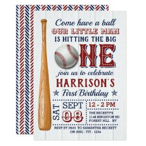 Hitting The Big One Baseball 1st Birthday Invitation