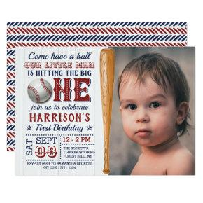 Hitting The Big One Baseball 1st Birthday Photo Invitation