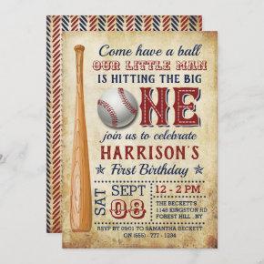 Hitting The Big One Vintage Baseball 1st Birthday Invitation