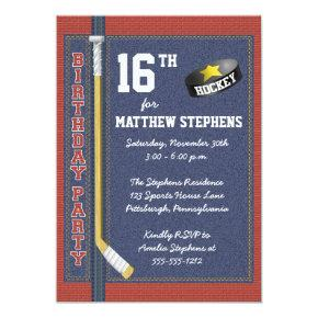 Hockey Denim Bricks Rustic Sports Birthday Party Invitation