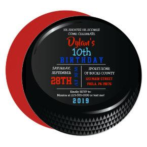 HOCKEY PUCK ROUND Birthday Party Invitation