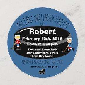 Hockey Skating Birthday Party Circle Invite