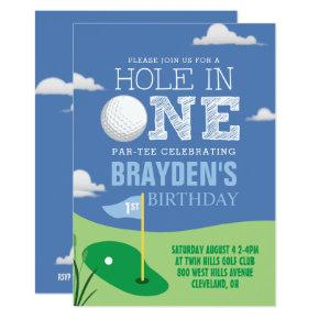 Hole in One Blue Golf Theme Boys First Birthday Invitation
