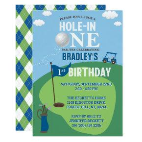 Hole In One Golf 1st Birthday Invitation