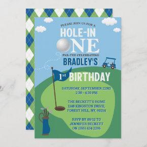 Hole In One Golf 1st Birthday Invitation