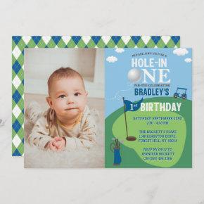 Hole In One Golf 1st Birthday Photo Invitation