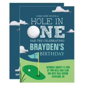 Hole in One Golf Theme Boys First Birthday Invitation