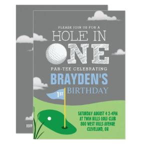 Hole in One Gray Golf Theme Boys First Birthday Invitation