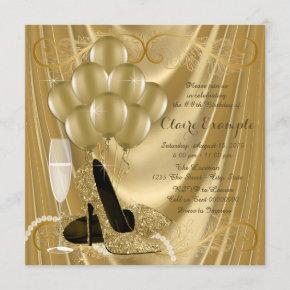 Hollywood Glamour Gold Birthday Party Invitation
