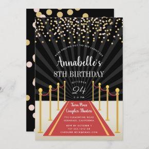 Hollywood Red Carpet Birthday Party Invitation