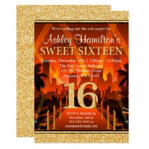 Hollywood Themed Sweet 16 Birthday Invitations Candied Clouds