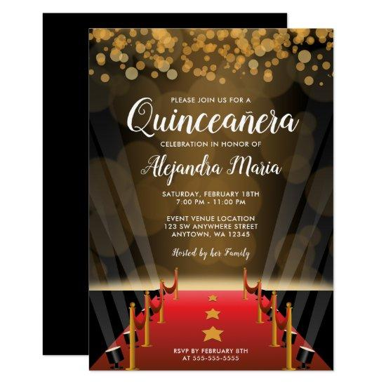 Hollywood Red Carpet Quinceanera Invitations Candied Clouds