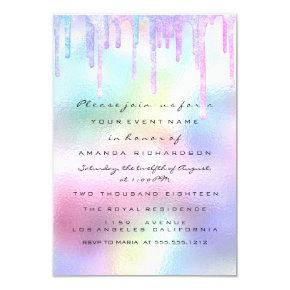 Hologram Unicorn Mermaid 16th 15th Pastel Invitation