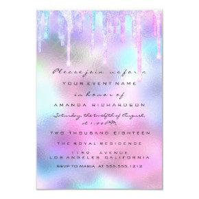 Hologram Unicorn Mermaid 16th 15th Pink Invitation