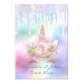 Holographic Drips Unicorn Party Sweet 15th Mermaid Invitation