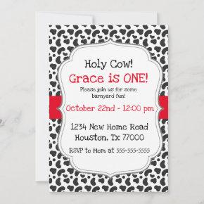 Holy Cow I'm One First Birthday Invitation