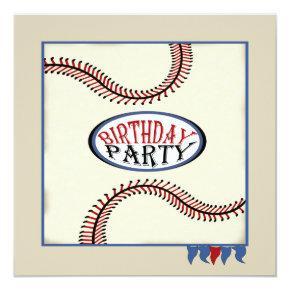 Hometown Baseball Birthday Invitations